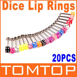 Wholesale Piercing Dices - Wholesale-OP-5sets lot 20pcs Colorful Stainless Steel Dice Lip Rings Bars Labret Stud Piercing Fashion Jewelry Free Shipping