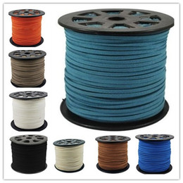 Wholesale Diy Leather Flat Cord - 16 colors 95M 3mm x 1.5mm Multicolor Flat Faux Suede Korean Velvet Leather Cord DIY string Rope Thread Lace Jewelry Making Findings