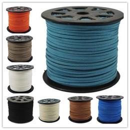 3mm flaches leder Rabatt 16 farben 95 Mt 3mm x 1,5mm Multicolor Flache Faux Wildleder Koreanische Samt Lederband DIY string Seil Gewinde Spitze Schmuck, die Entdeckungen