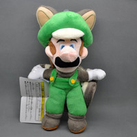 "Wholesale New Mario Toys - Free Shipping New Super Mario Bros 9"" Musasabi Flying Squirrel Luigi Plush Soft Stuffed Toy Doll"