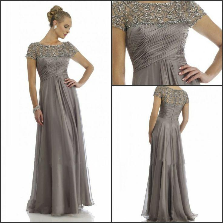 2014 Hot Sales Long Chiffon Mother Of The Groom Dresses Short Sleeve