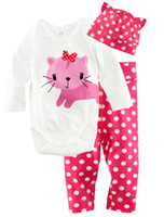 Wholesale Cdm Wholesale - The Newborn Girl''s 3PCS Sets Jumpsuits hat pants Baby pajamas girl's suit bodysuit --CDM 951G