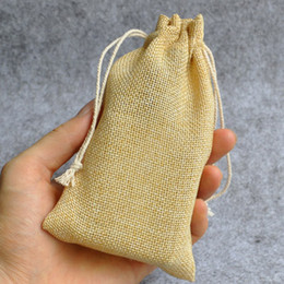 Wholesale makeup earrings - Jute Flax Linen Gift Bags 7x9cm 9x12cm 12x17cm pack of 100 Ring Earring Necklace Bracelet Makeup Jewelry Drawstring Pouch