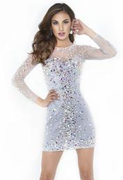 2019 elie saab gris largo vestido ¡Más vendido! 2016 Gorgeous Mini vestidos de cóctel Cuello redondo de manga larga Rhinestones cristales Granos blancos cortos vestidos de baile por encargo