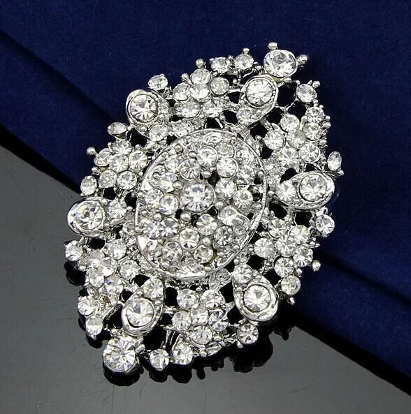 2.4 дюймов винтажный вид родия Серебряный цветок брошь с прозрачными кристаллами горный хрусталь