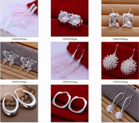 5pairs / Lot mixed wholesale 925 Sterling Silver Jewelry drop Earings 2013 Neuf Livraison gratuite