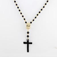Wholesale Cross Pendants Beads - Sopop Fashion Jewelry Alloy Black Beads Cross Pendant Necklace for Women