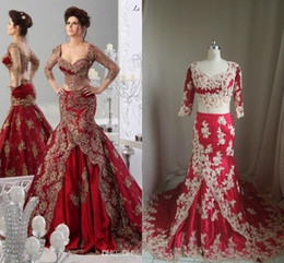Wholesale Cheap Couture Prom Dresses - Red Formal Evening Dresses Arabic Jajja-Couture Embroidery V Neck Ball Gowns Prom Cheap Ball Gowns 3 4 Long Sleeve Sexy Dress