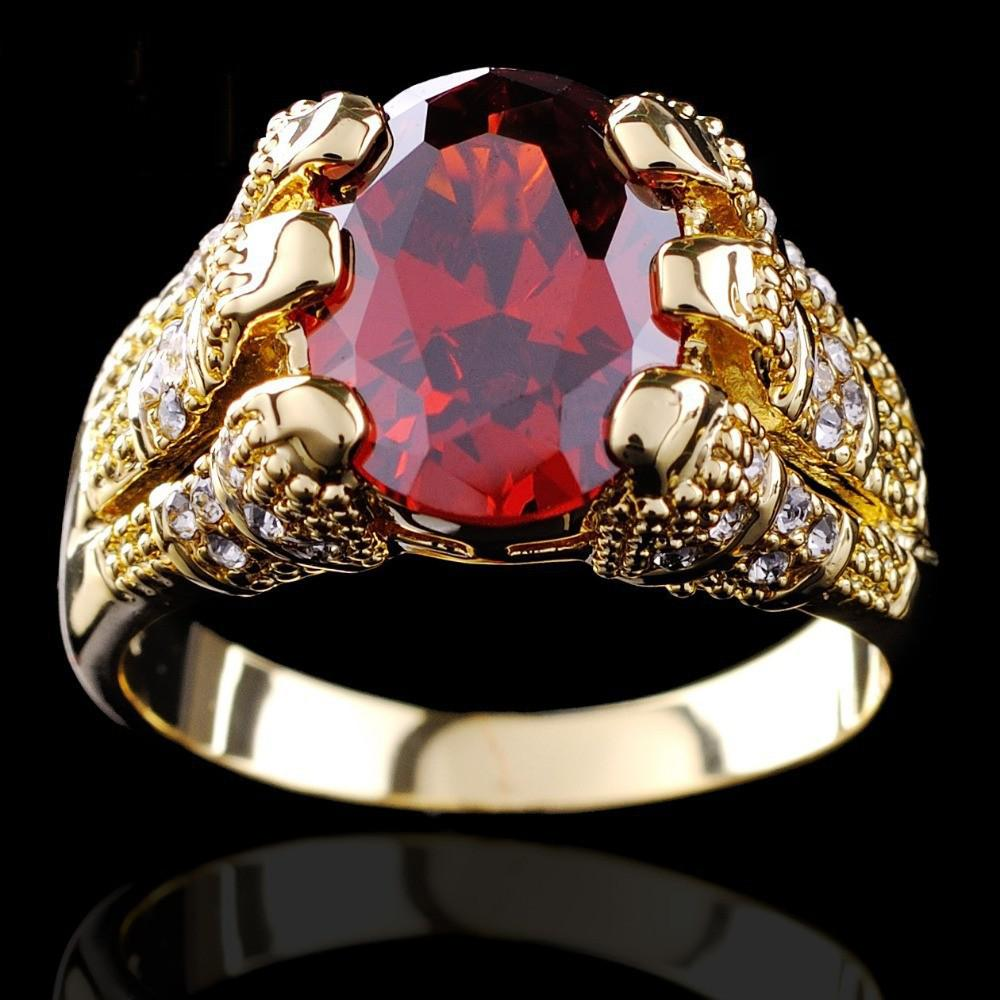 Well-liked Yellow Gold Filled Ruby Ring Men'S 10kt Finger Rings For Man  AU74