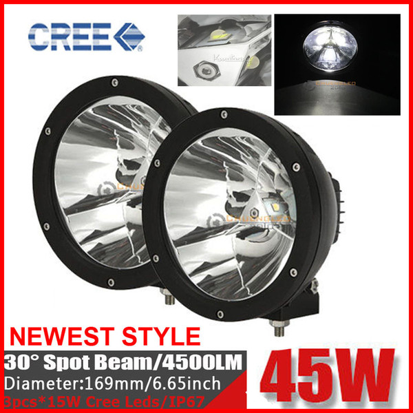 "2PCS 7"" 45W CREE LED Driving Work Light Off-Road SUV ATV 4WD 4x4 POWER Spot Beam 4500lm 9-30V JEEP Truck Wago Fog Headlamp Replace HID Black"