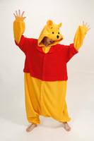 Wholesale Kigurumi Mascot Costume - 2014 Winnie bear mascot animal costume Kigurumi Pajamas Animal Pyjamas Costume Coral Fleece Animal Sleepwear styles