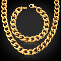 Wholesale Chunky Chain Link Earrings - 18K Gold Plated Jewelry Set Factory Wholesale 2015 Trendy Men Jewelry 11 MM Chunky Cuban Link Chain Bracelet Necklace Set NH754