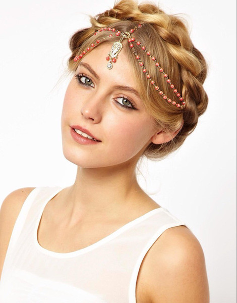 idealway European Style Gold Plated Chain Red White Orange Beads Rhinestone Carving Drop Head Band Hair accessories