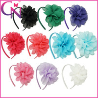 Wholesale Blue Flower Hair - Wholesale 10 Colors Solid Chiffon Flower Hairband Baby Girls Hairbands With Chiffon Flowers Handmade Baby Girls Hair Accessories