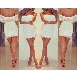 Wholesale Low Cut Sexy Mini Skirt - Fashion White Lace Dress Women Bodycon Dress Plus Size Ladies Pencil Skirt Sleeveless Low-cut Runway Dress Sexy Girl Club Party Dress E15