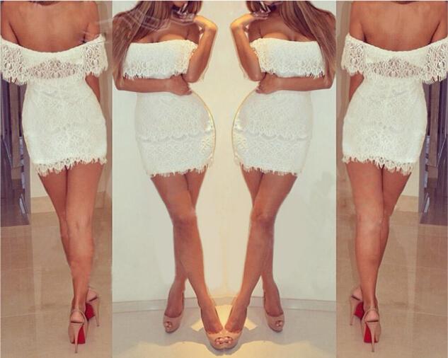 Fashion White Lace Dress Women Bodycon Dress Plus Size Ladies Pencil Skirt Sleeveless Low-cut Runway Dress Sexy Girl Club Party Dress E15