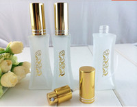 Wholesale golden bottle cosmetic - Golden Flower Printing Glass ml Spray Bottle Perfume Atomizers Cosmetic Packaging ZH1445