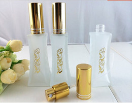 golden bottle cosmetic 2018 - Golden Flower Printing Glass 20ml Spray Bottle Perfume Atomizers Cosmetic Packaging 10pcs lot ZH1445 discount golden bot