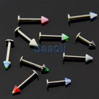 Compra 18 Labret-Wholesale-OP-10x 18G Bulk Lips Acrilico Cono Labret Bar Body Art Piercing Gioielli 4mm 10-14mm JW038