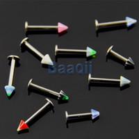 Wholesale Lip Piercing Cone - Wholesale-OP-10x 18G Bulk Lips Acrylic Cone Labret Bar Body Art Piercing Jewelry 4mm 10-14mm JW038