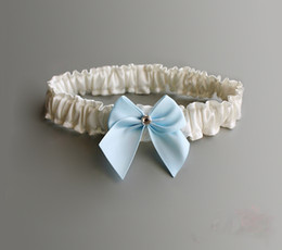 Wholesale Satin Ribbon Tape - 5 pcs lot Cream-colored Satin Bridal Garters With Blue Ribbon Bow Garter Without Self-Adhesive Tape Wedding Accessory