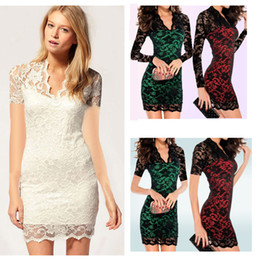 Wholesale Jacquard Lace Dress - Newest Women Jacquard Lace Mini Dress with scalloped neck Slim Sheath Long Sleeves Celebrity Slim Dress Free Shipping 8172