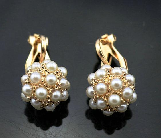 Clip di palla simulata della perla placcata oro 18K di nuovo arrivo sui monili all'ingrosso di modo degli orecchini Trasporto libero