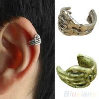 Wholesale Gold Skull Ear Cuff - 1pc New Skeleton Skull Hand Ear Cuff Wrap Cartilage Earrings Clip Men Women On Silver Gold Hot Sale