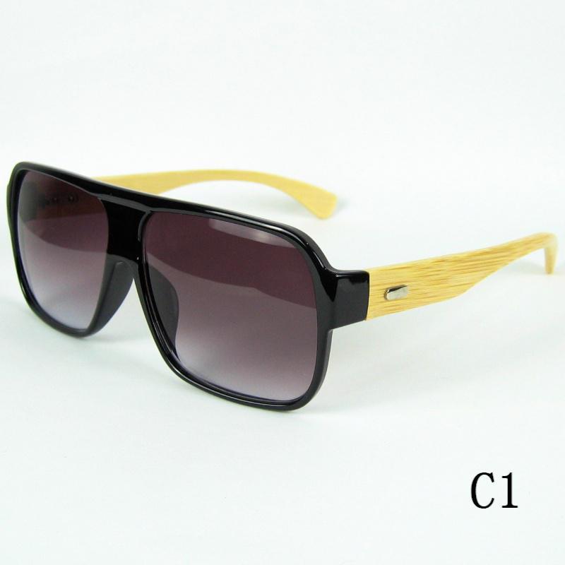 Trä solglasögon naturlig bambu glasögon solglasögon pilot stil stor ram handgjorda trä tempel 12st /