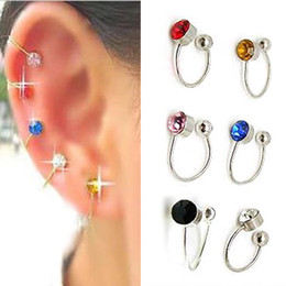 Wholesale Pair Crystal Stud Earrings - Colorful 12 Pairs Clip On U Body Crystal Earrings Nose Lip Ring Ear Cuff Stud Pin Free Shipping