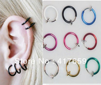Wholesale Screw Piercing - 10pcs Clip on Fake Hoop Boby Nose Lip Ear Ring Punk Goth Piercing Septum New Free Shipping