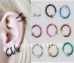 lip piercing hoops Coupons - 10pcs Clip on Fake Hoop Boby Nose Lip Ear Ring Punk Goth Piercing Septum New Free Shipping