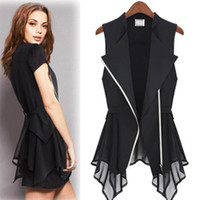 Wholesale Ruffle Vest Top - 2017 New Summer Women Blouses Plus Size Fashion Long Blouse Sleeveless Chiffon Blouses t shirt Ladies Womens Tops Vest Shirts C39
