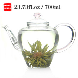Wholesale Flowering Glass Tea Pot - 23.73 fl.oz 700ml Heat-Resisting Clear Pyrex Glass teapot for Blooming Tea,Flower Tea pot,Coffee Tea Pot Set Juice Kettle
