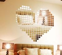 vida en mosaico al por mayor-100 unids / lote 2x2 cm Plata 3D Etiqueta de La Pared Mosaico Espejo Sofá Salón Decoración