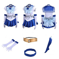 Wholesale Sailor Moon Costumes Kids - 2014 New Sailor Moon SM Sailor Mercury Dress Cosplay Costume & petticoat any size