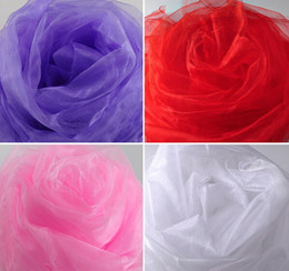 Barato Organza Drapeada-New Chega 0,75 * 5m 24 cores Sheer Mirror Organza Tela rígida para Wedding Drape Decoration