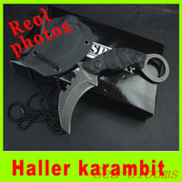 Wholesale fixed karambit knives for sale - 201408 New Haller small fix karambit knife with Sheath neck tactical knife outdoor survival knives high quality Christmas gift H