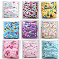 Wholesale Organic Cotton Nappies Wholesale - 2014 High quality Organic Printed Cartoon Colorful baby Cloth diapers 10 pcs with 10pcs bamboo cotton insert Nappy Free Shipping