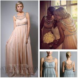 Wholesale Evening Dress Jennifer - 2017 Jennifer Lopez Chiffon Beach Bridesmaid Dresses Scoop Empire Full Length Evening Gowns Maternity Plus Size Party Dress
