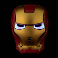 Wholesale Spider Mask - LED Film Mask American Superhero Iron Man Batman Hulk Captain America Spider-Man Mask Glow Flash Halloween Children Mask Carnival LED Mask