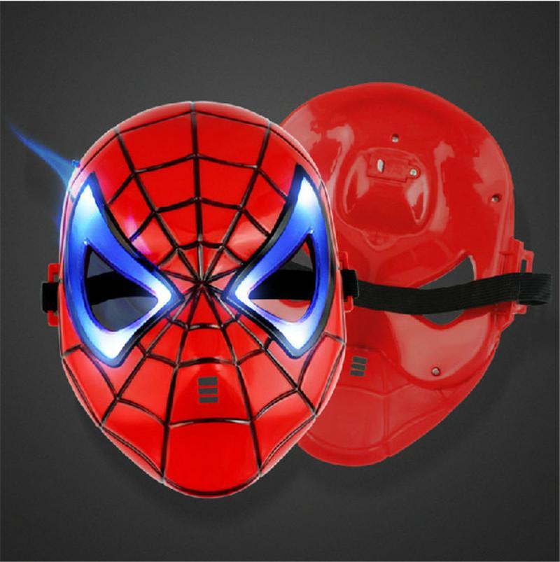 Máscara de película LED American Superhero Iron Man Batman Hulk Capitán América Máscara de Spider-Man Glow Flash Máscaras de Halloween para niños Carnival Máscara LED