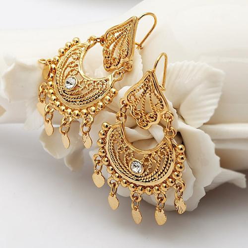 earrings vintage jewelry indian fine yellow multipearl gold