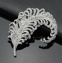 Wholesale Wholesale Leaf Brooches - 3.2 Inch Rhodium Silver Plated Rhinestone Diamante Large Leaf or Feather Brooch