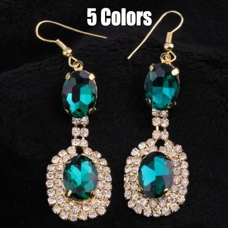 new Classic design 5 colors blue gree Gem rhinestone Crystal Glass drop earrings jewelry fro women 2014 lady shop