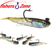 Wholesale Saltwater Fishing Lures Heads - Wholesale 10Pcs lot 70mm 6g Split Tail Fishing Soft Baits Fishing Lure Lead Jig Head Fish Lures Tackle Sharp Hook