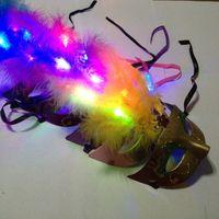 Wholesale Novelty Powders - Hot LED Party Mask Face Mask Novelty RGB Flash Mask Gold Powder Princess Feather Mask PVC Masquerade Venetian Masks New Halloween Party Mask