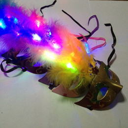 Wholesale Masquerade Feathers - Hot LED Party Mask Face Mask Novelty RGB Flash Mask Gold Powder Princess Feather Mask PVC Masquerade Venetian Masks New Halloween Party Mask