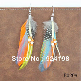 Wholesale Cheap Wholesale Feather Earrings - Min. order $10 6pc lot mix colors new arrival classic cheap indian feather earrings with beads free shipping