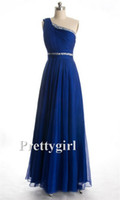 Wholesale Girls One Shoulder Chiffon Dress - ZJ0065 pretty girl one shoulder elegant royal blue chiffon long formal evening gowns dresses 2014 new arrival